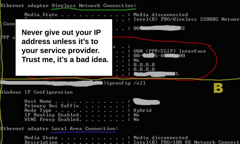 never give out IP address